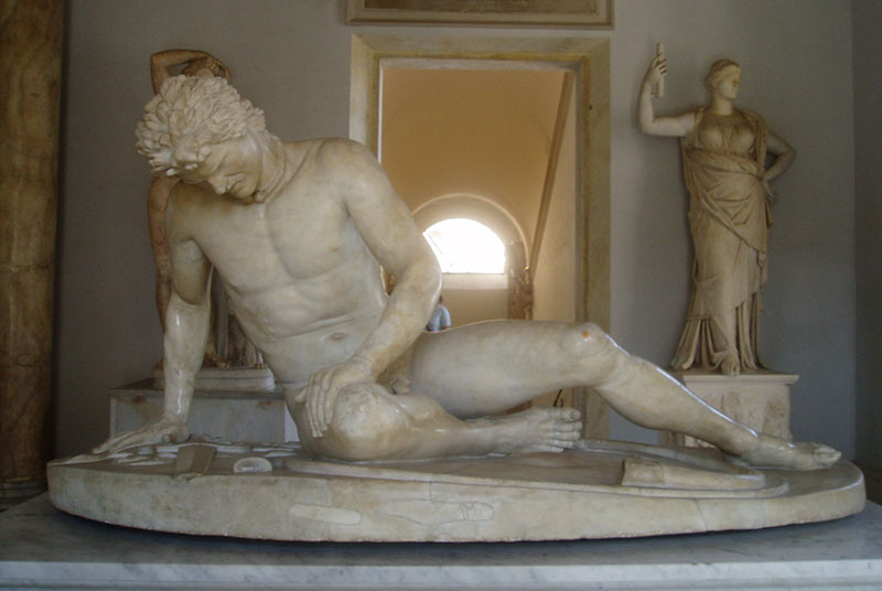 Replica of ancient Dying Gaul statue.